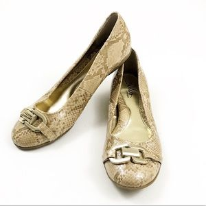 SOLOS BY SOFTSPOTS Snakeprint Leather Ballet Flats